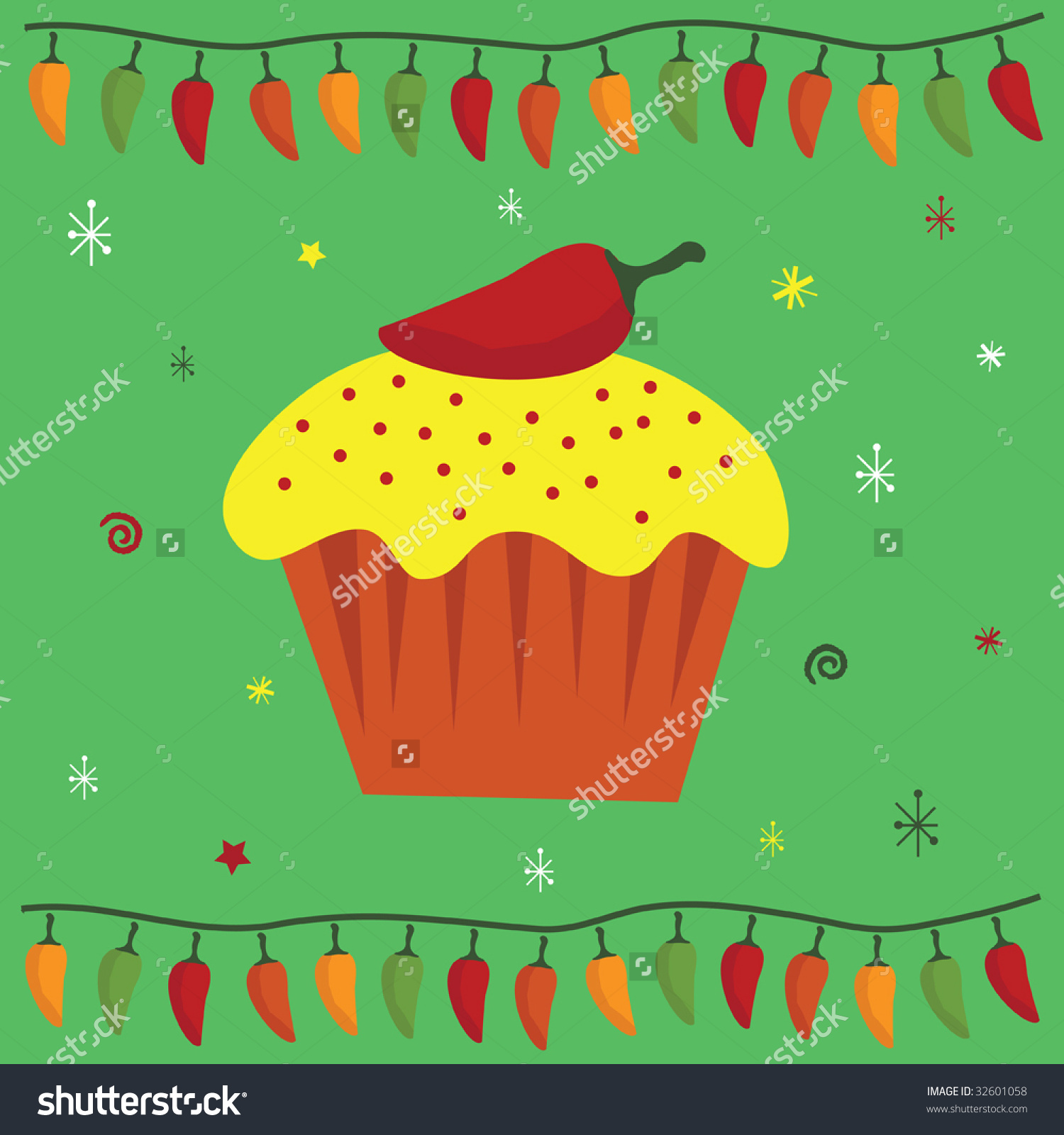 Greeting Card Design In A Mexican Style With Chili Pepper Cake.