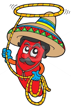 Cartoon Mexican chilli with lasso stock vector.