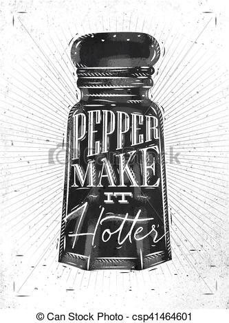 Vector Clipart of Poster pepper castor lettering pepper make it.
