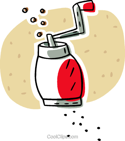 pepper mill or grinder Royalty Free Vector Clip Art.