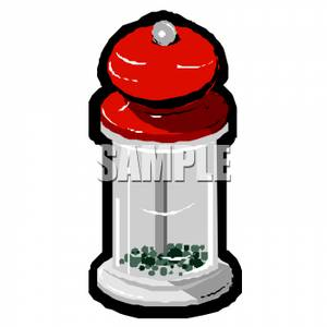 A Colorful Cartoon of a Pepper Grinder.