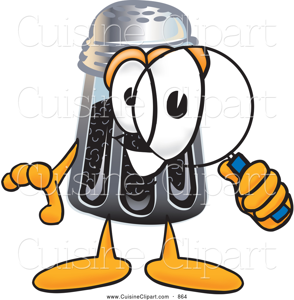 Cuisine Clipart of a Smiling Pepper Shaker Mascot Cartoon.