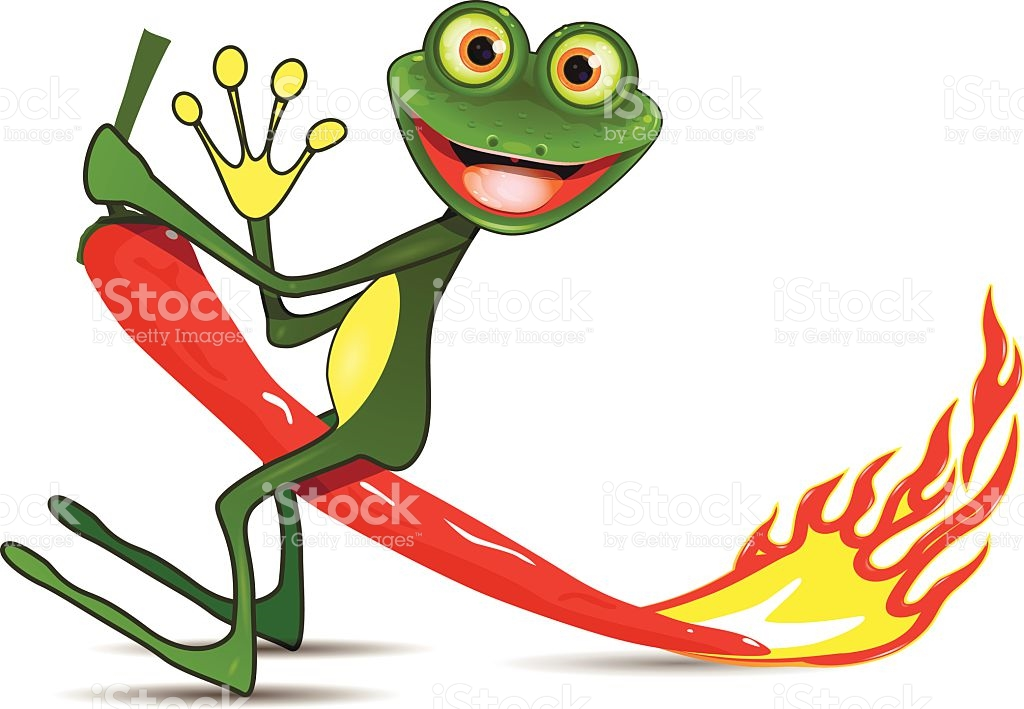 Frog On Hot Pepper stock vector art 482384530.