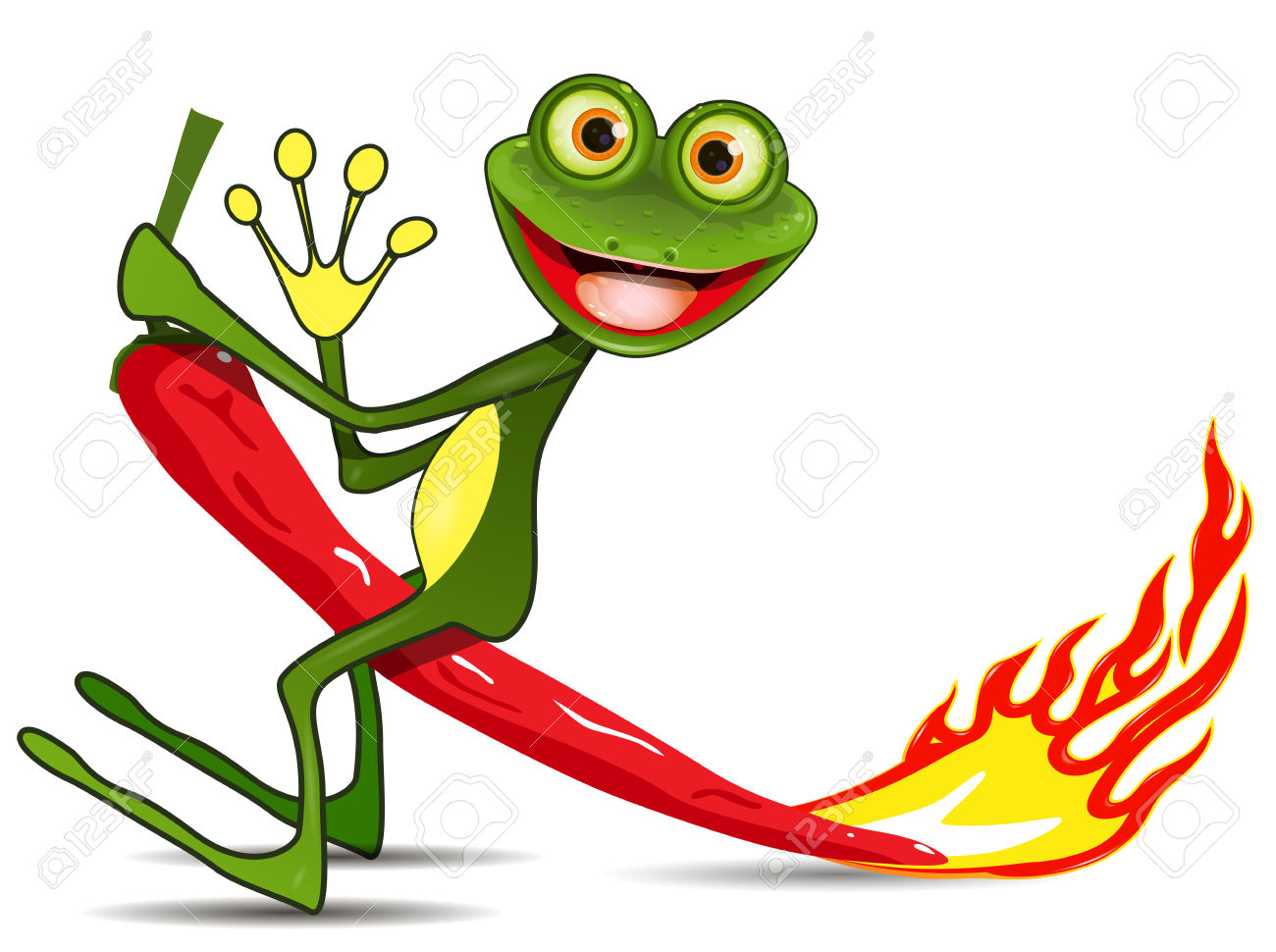 Illustration Merry Green Frog On Hot Pepper Royalty Free Cliparts.