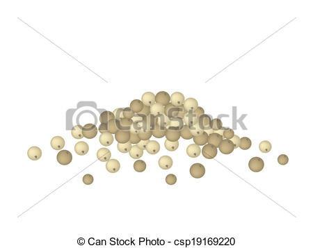 Vector Illustration of A Heap of Dry Peppercorns on White.