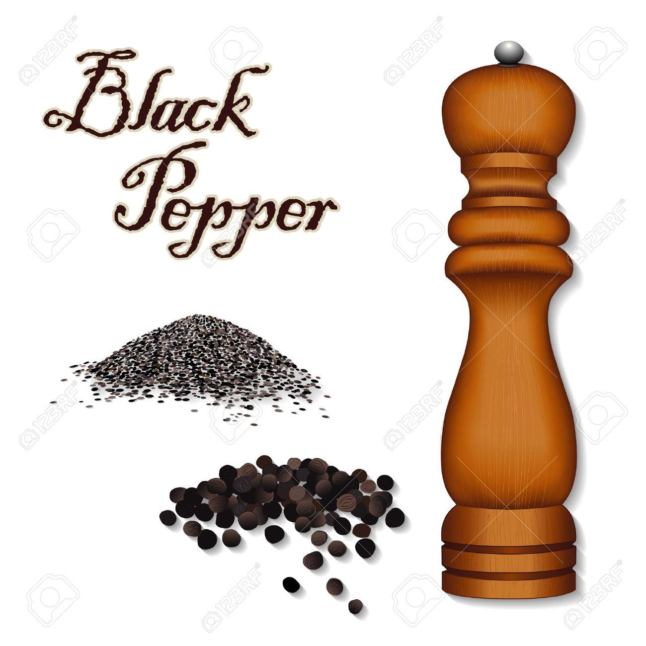 Pepper Mill, Spice Grinder; Whole Black Peppercorns, Ground Pepper.