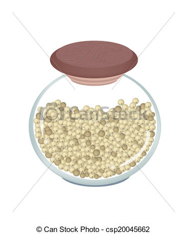 Clip Art Vector of Jar of Dried Peppercorns on White Background.