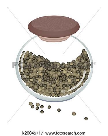 Stock Illustration of Jar of Black Peppercorns on White Background.
