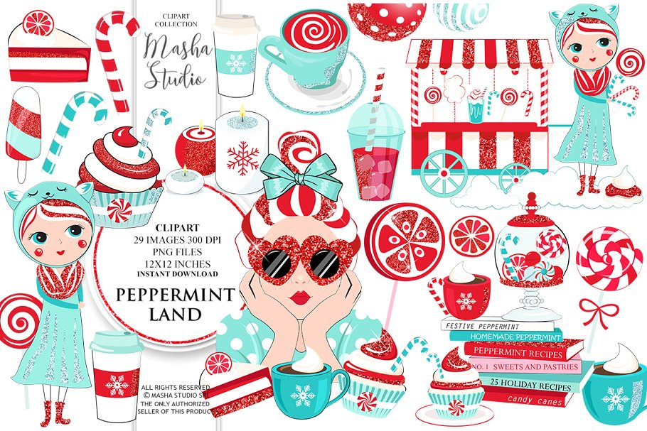 PEPPERMINT LAND clipart ~ Illustrations ~ Creative Market.