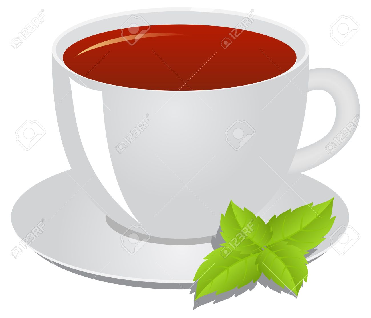 Cup Of Tea, A Leaflet Of Mint. Tea Consept. Royalty Free Cliparts.