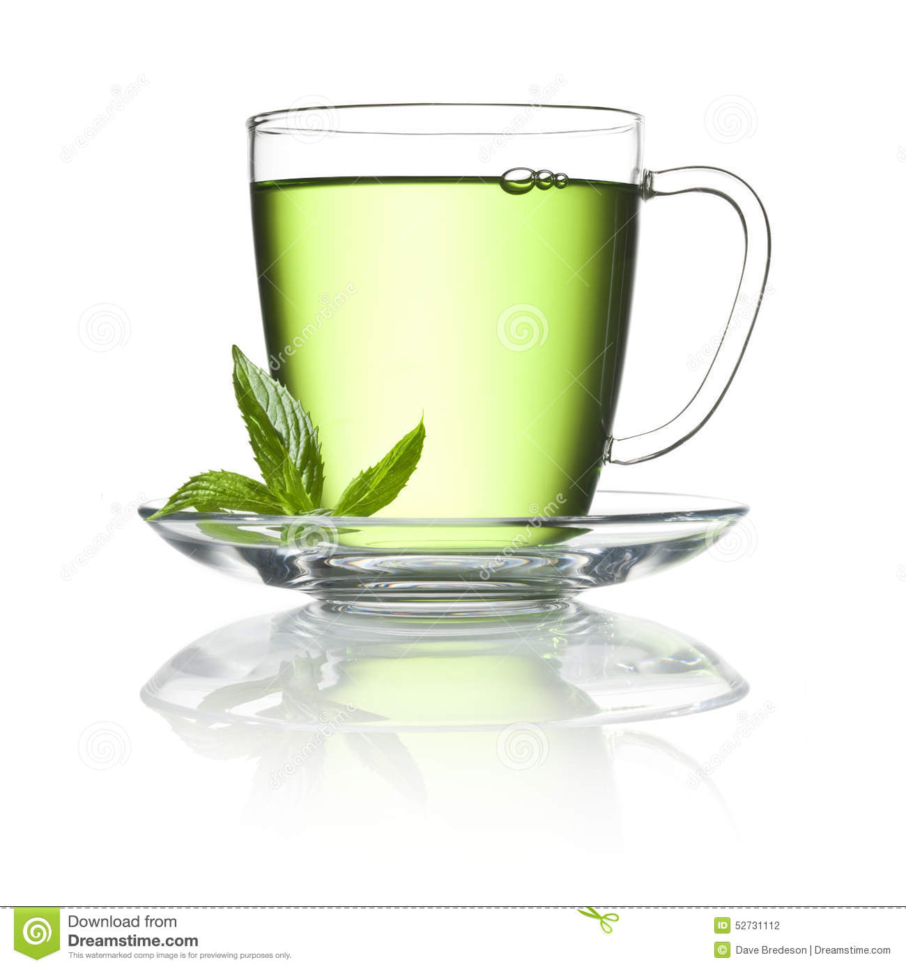 Green Peppermint Tea Cup Stock Photo.
