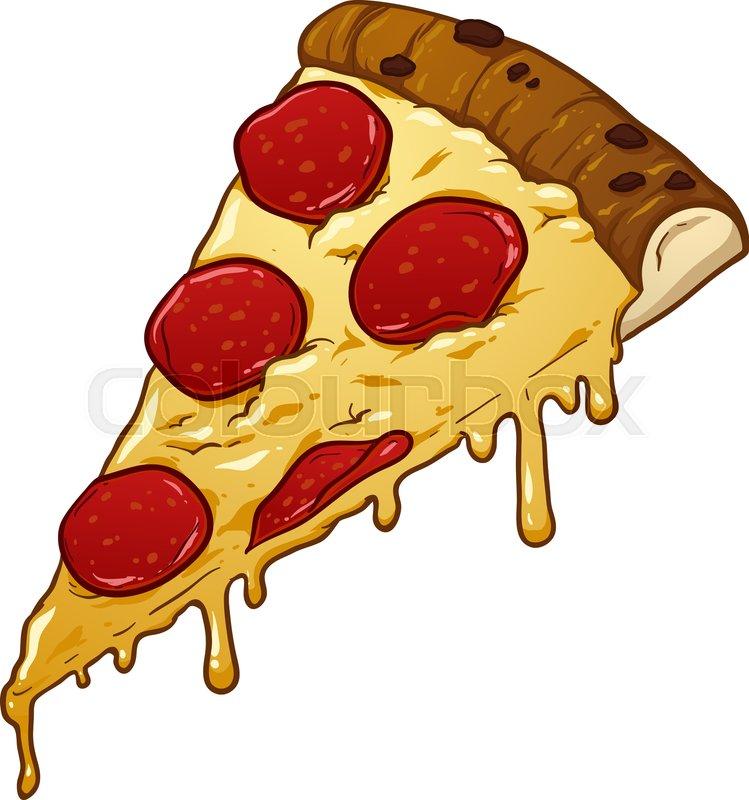 Slice of pepperoni pizza. Vector clip.