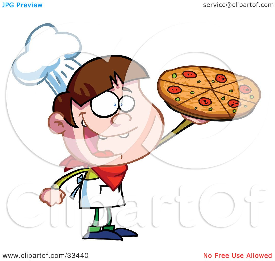 Clipart Illustration of a Little Pizza Boy Chef Displaying His.
