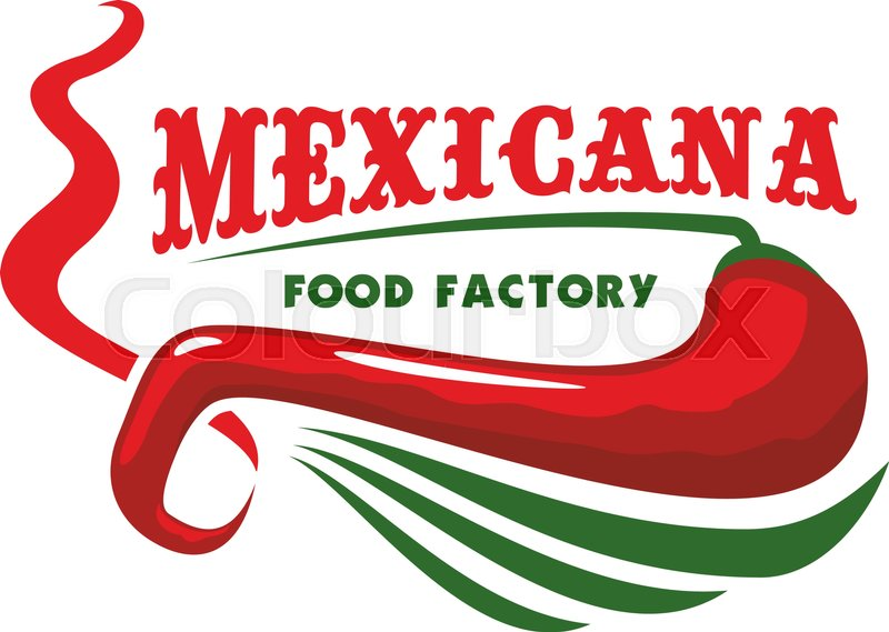 Mexico or mexican restaurant icon with red chili pepper. American.