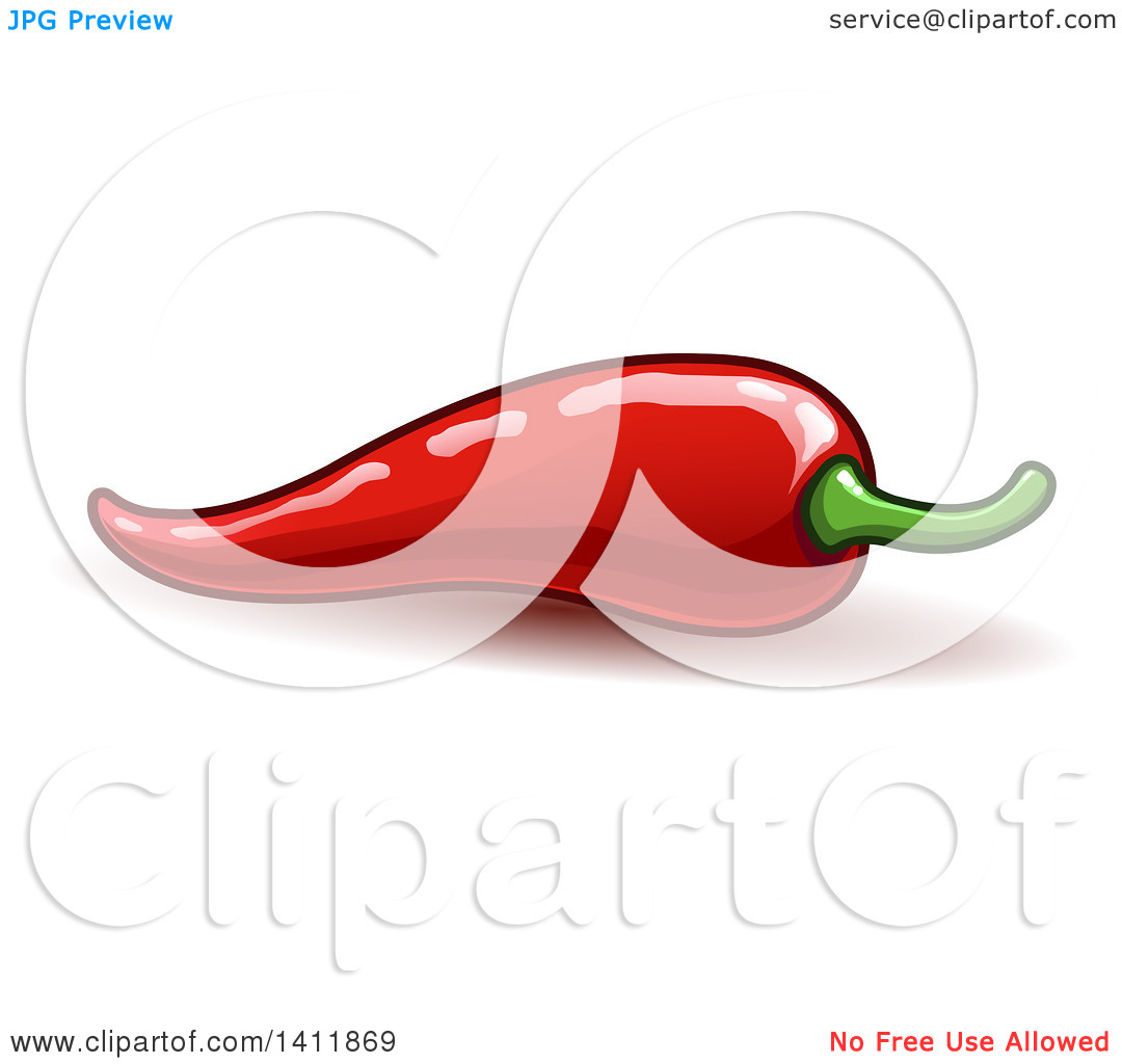 Clipart of a Spicy Hot Red Chili Pepper.