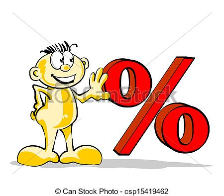Funny man with percent symbol Vector Clip Art Royalty Free. 1.