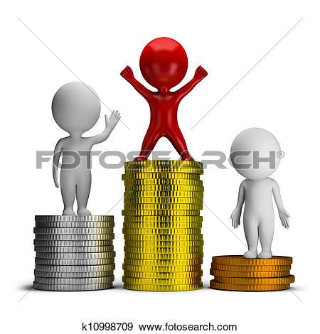 Clipart of Lucky Leprechaun Flipping a Coin k5197671.