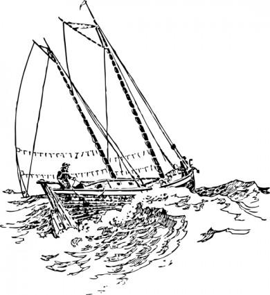 Perahu Yang Berlayar Di Ombak Clip Art.