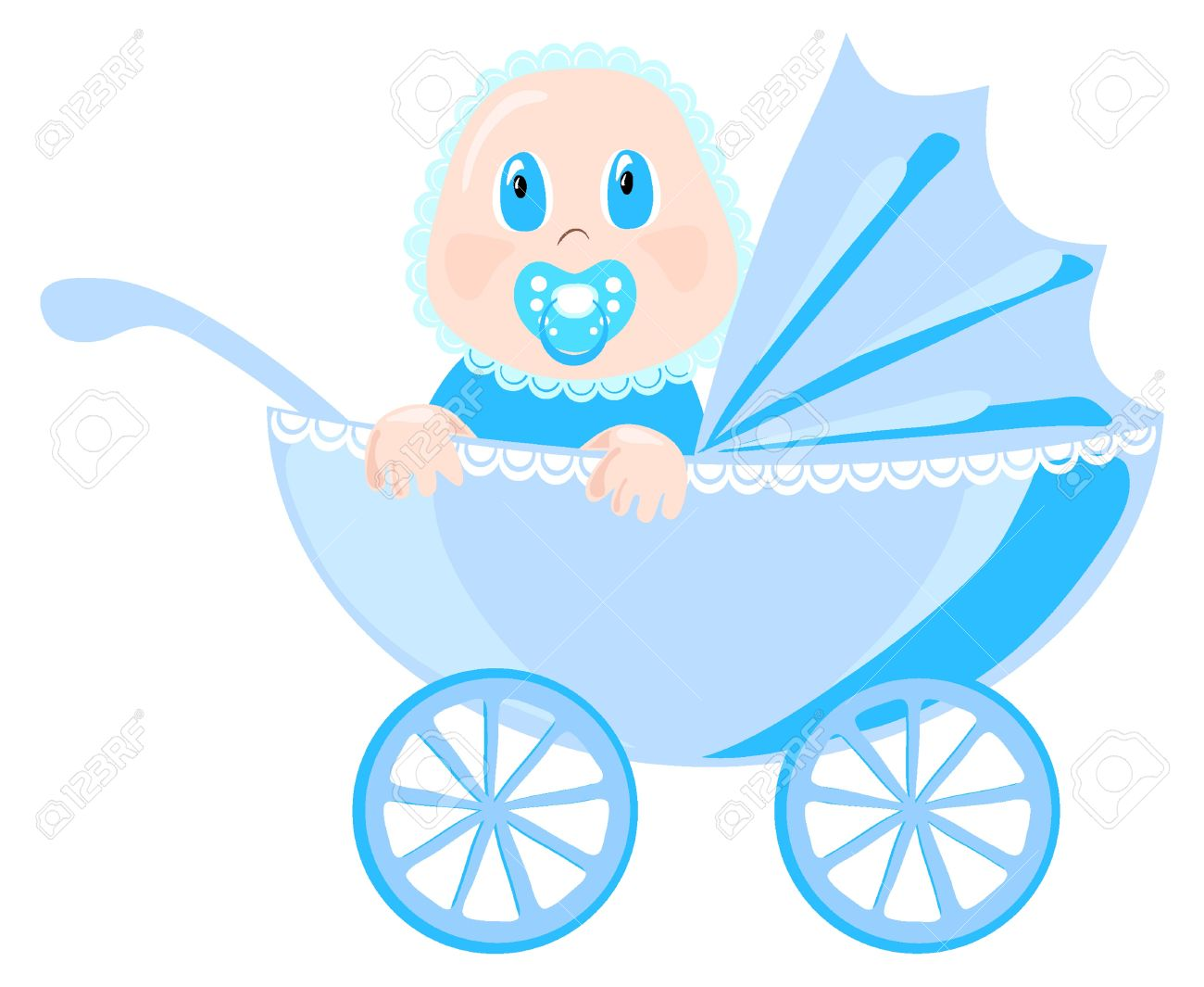 Baby In Blue Wear Sits In Pram Illustration Royalty Free Cliparts.