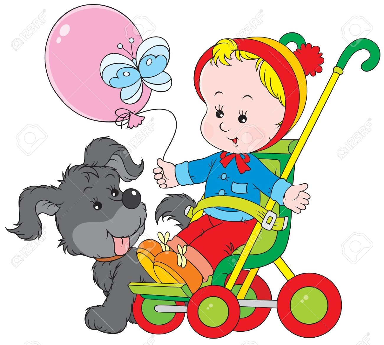 Toddler In A Pram And Funny Pup Royalty Free Cliparts, Vectors.