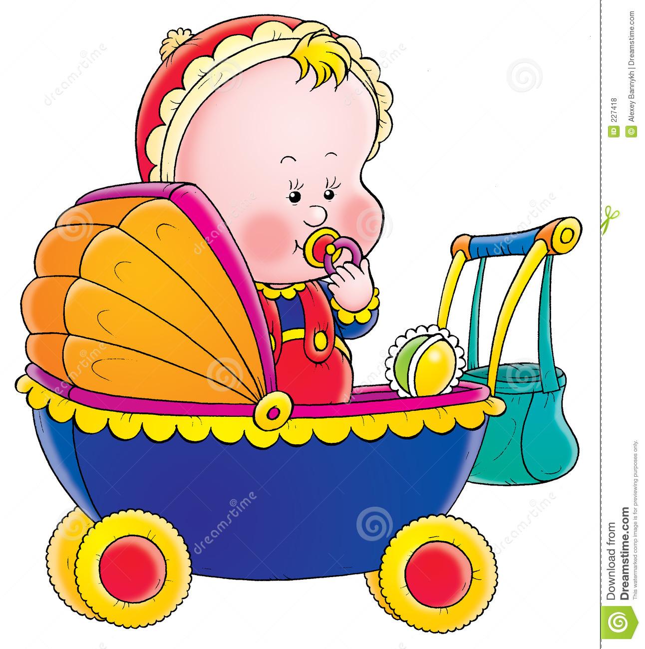 Baby In Pram Royalty Free Stock Photos.
