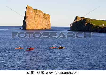 Stock Photography of Kayakers in front of Perce Rock, Perce, Gaspé.