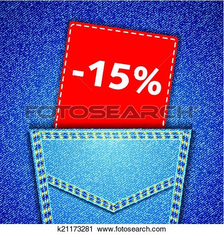 Clipart of Blue back jeans pocket realistic denim texture with.