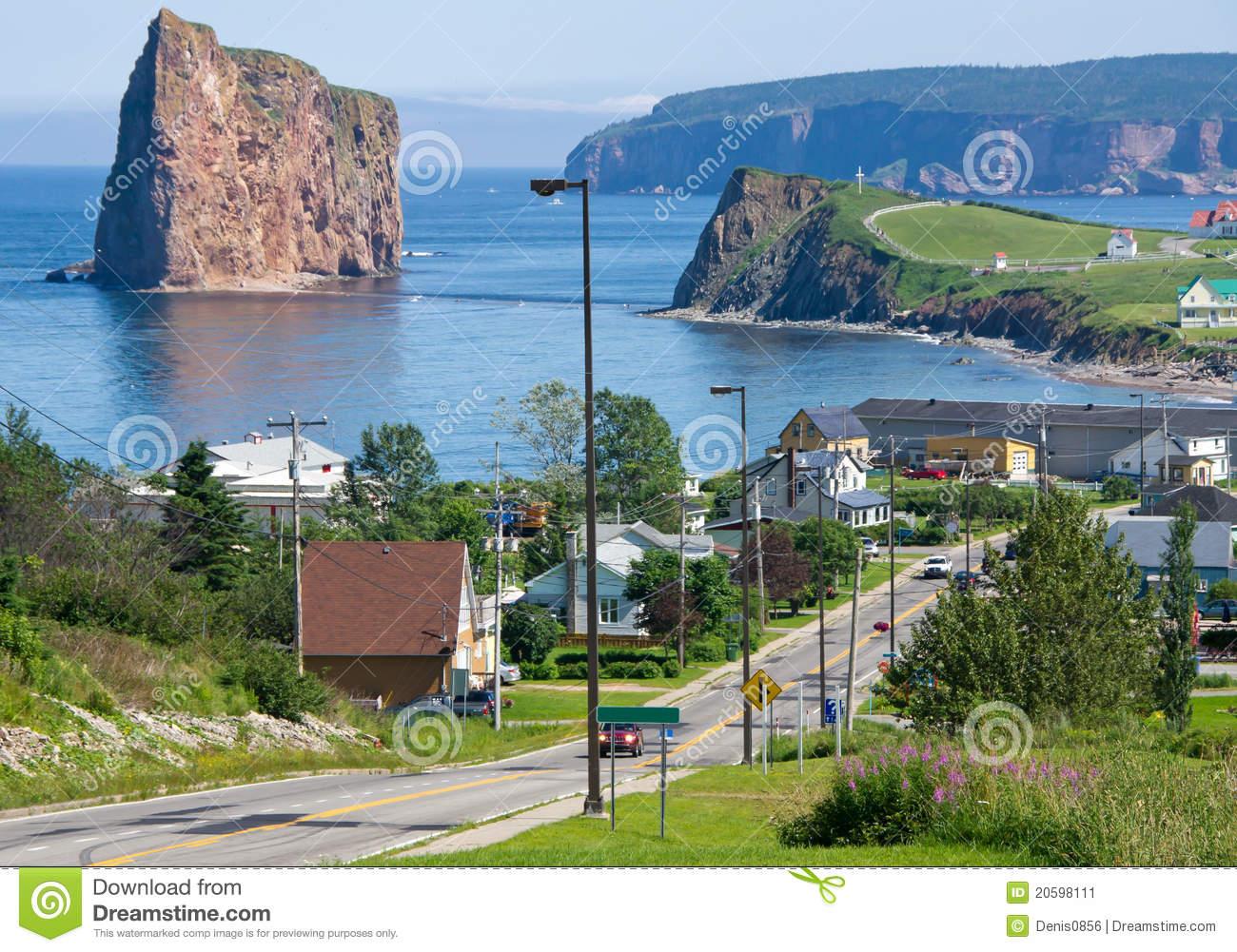 Town Of Percé Quebec,Canada Stock Image.