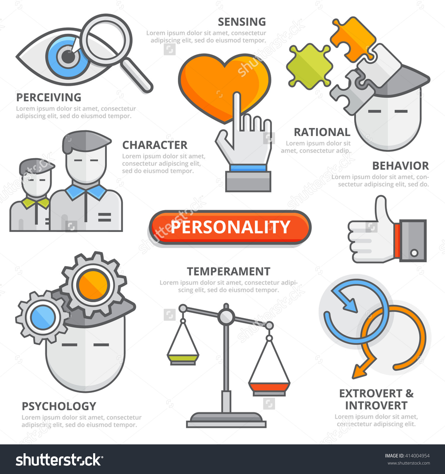 Flat Line Personality Thinking Traits Concept Stock Vector.