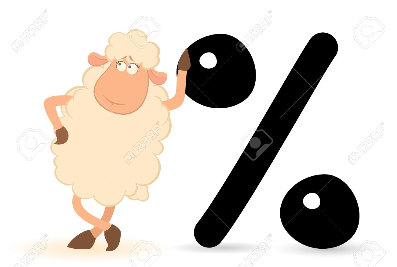 Cartoon Sheep With The Sign Of Percent Stock Photo, Picture And.