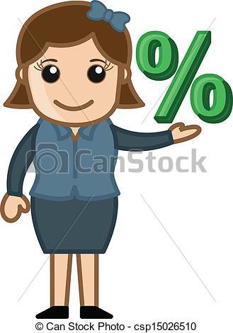 Vector Clip Art of Woman Having Percentage Sign.