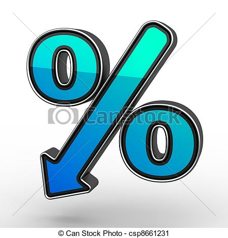 Clipart of Blue Percent Sign Denoting a Decrease csp8661231.