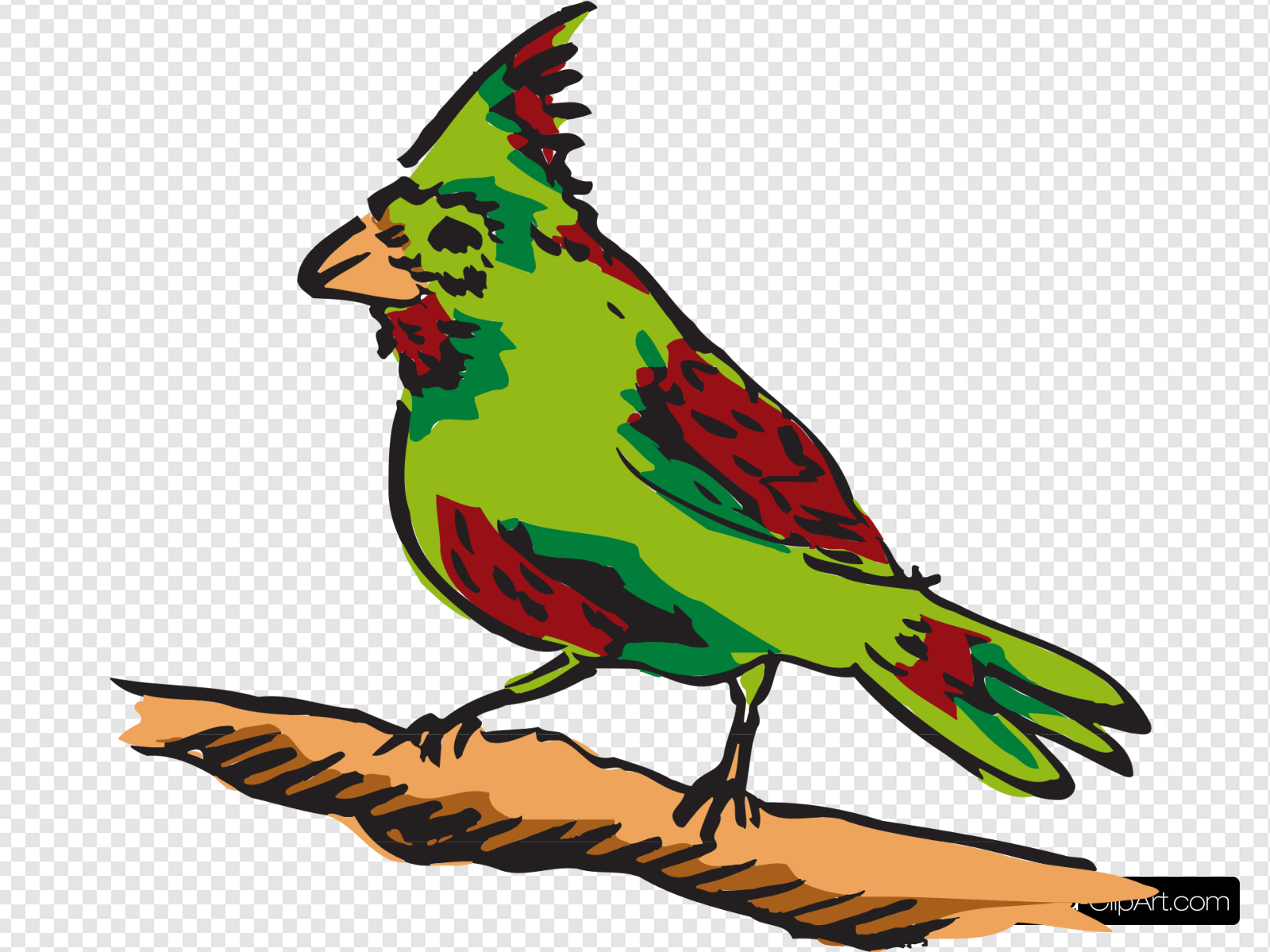 Green And Red Perched Bird Clip art, Icon and SVG.