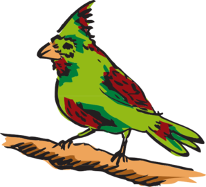 Green And Red Perched Bird Clip Art at Clker.com.