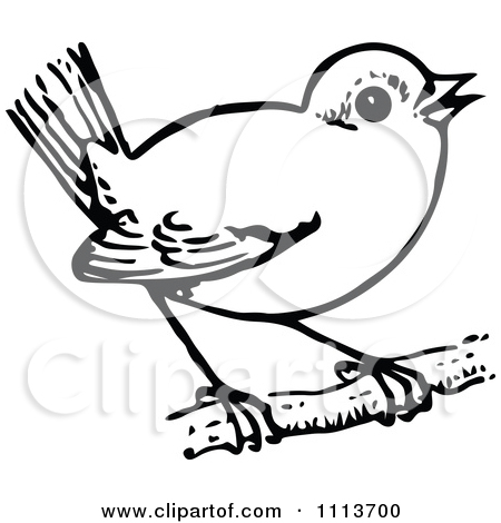 Clipart Vintage Black And White Perched Bird.