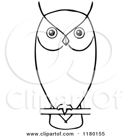 Clipart of a Black and White Perched Owl.