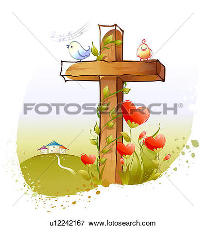 Stock Illustration of Two birds perching on a cross u12242167.