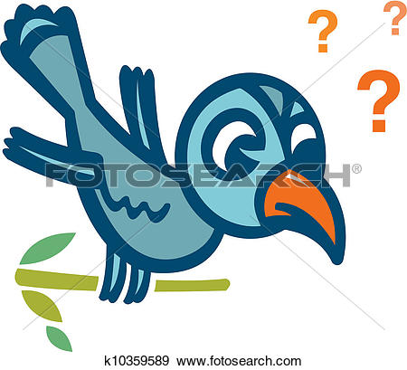 Stock Illustration of Bird perching on tree branch with question.