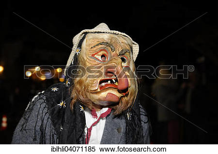"Stock Image of ""Witch, Perchten folklore figure, Weerer Muller."