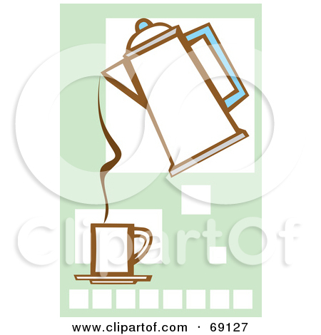 Clipart Of A Retro Vintage Black And White Coffee Percolator On A.