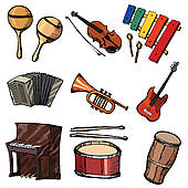 Percussion instruments clipart.
