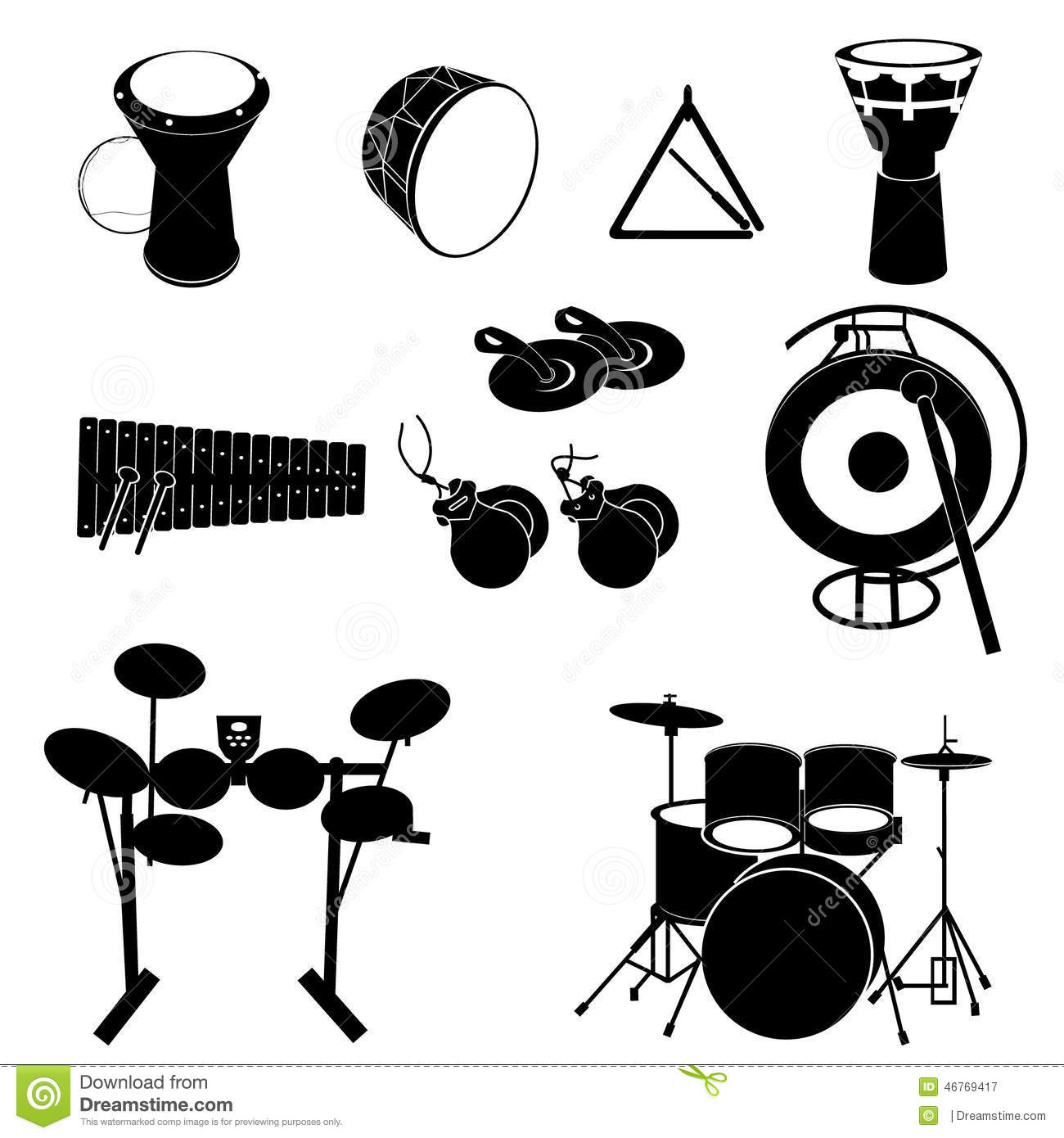 Percussion Instruments Icons Stock Images.