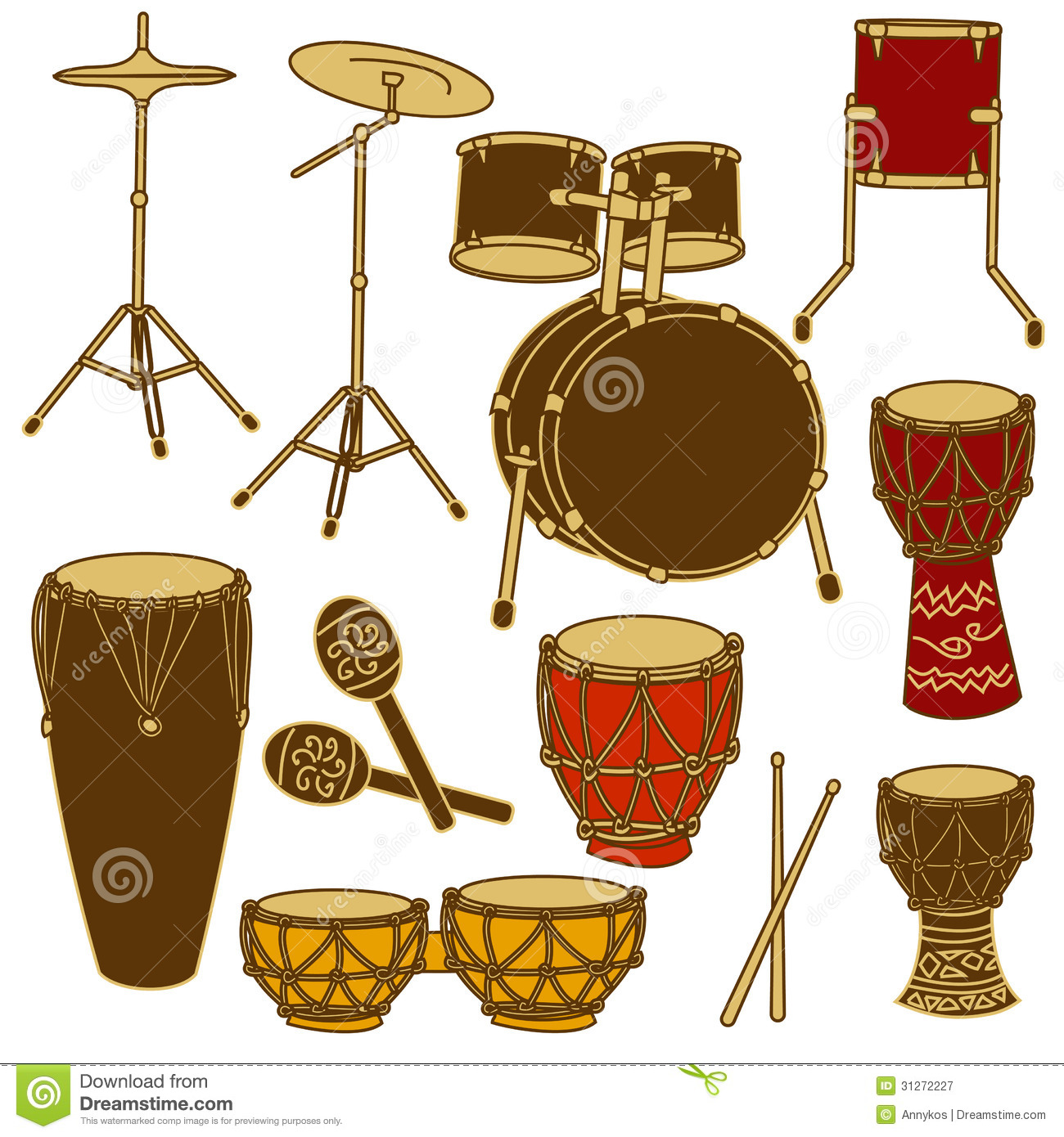 Isolated Icons Of Drum Kit And Percussion Royalty Free Stock.