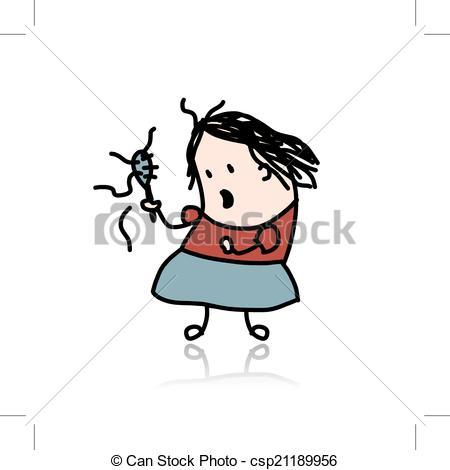 Vecteur Clipart de femme, ton, perd, conception, cheveux, dessin.
