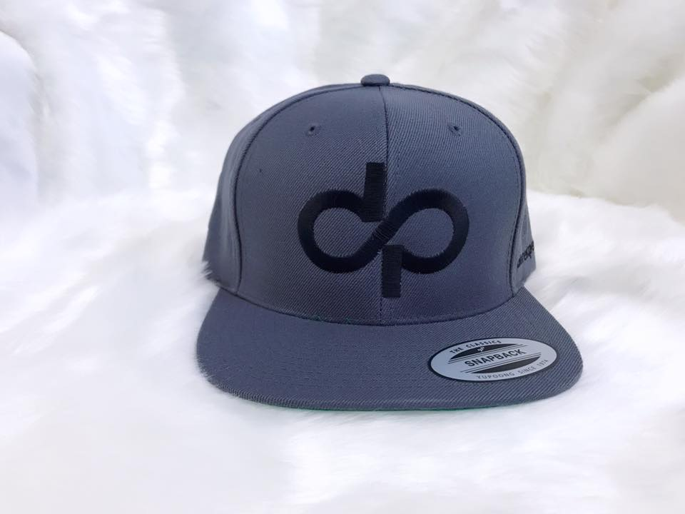 DP Gray Snapback with Black Logo.