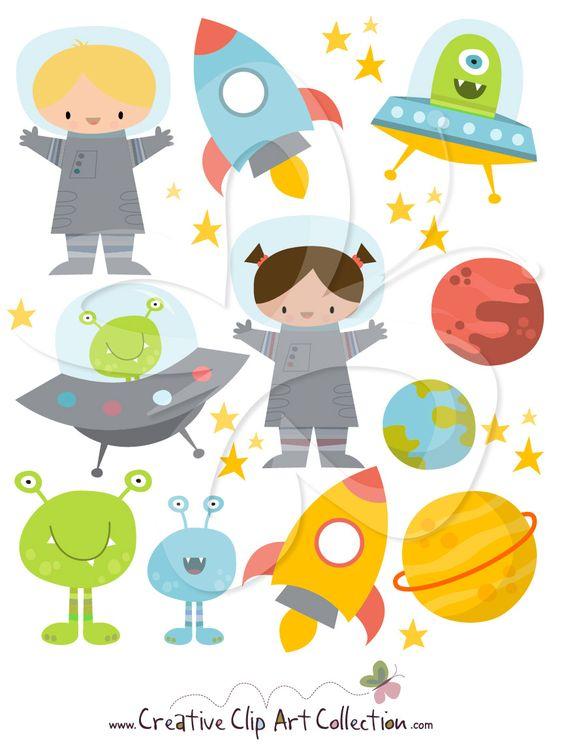 A cute Space clipart illustration set by Creative Clip Art.