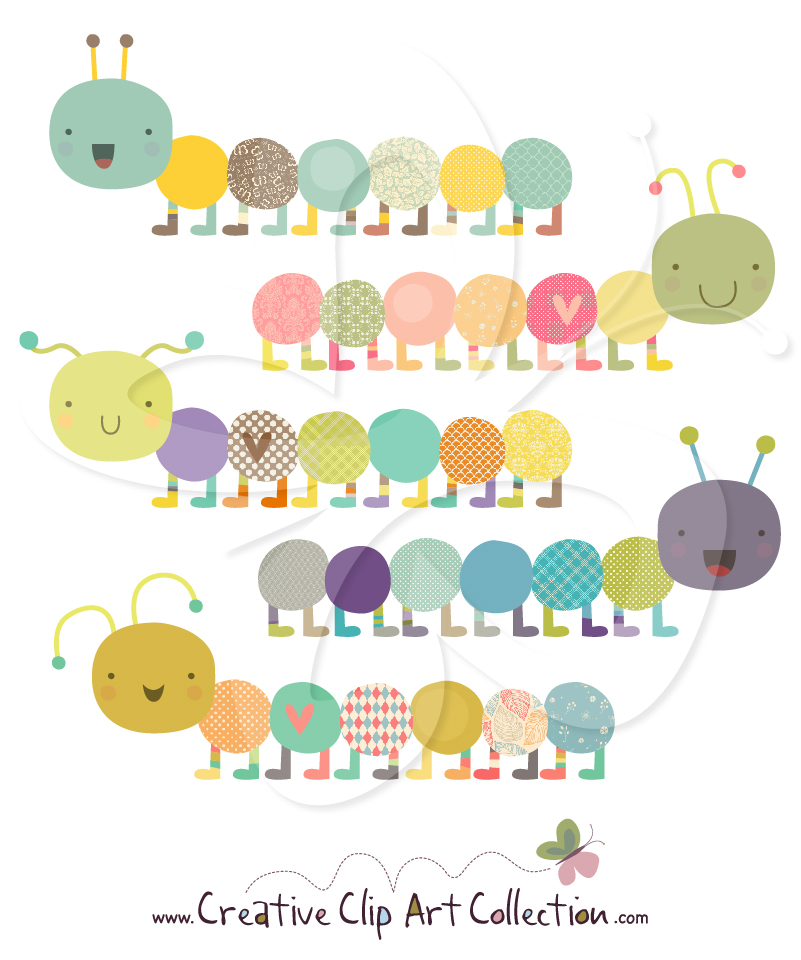 A super #cute #Caterpillar #clipart set from Creative Clip Art.