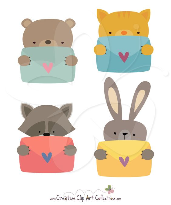A cute Animal Valentines clipart set from Creative Clip Art.