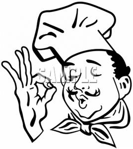 Clipart of a Chef Giving an Expression of Perfection.