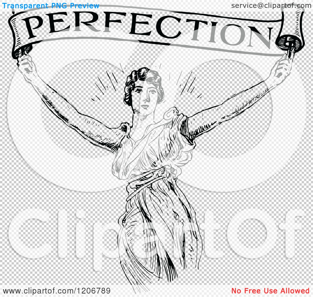 Clipart of a Vintage Black and White Woman Holding up a Perfection.
